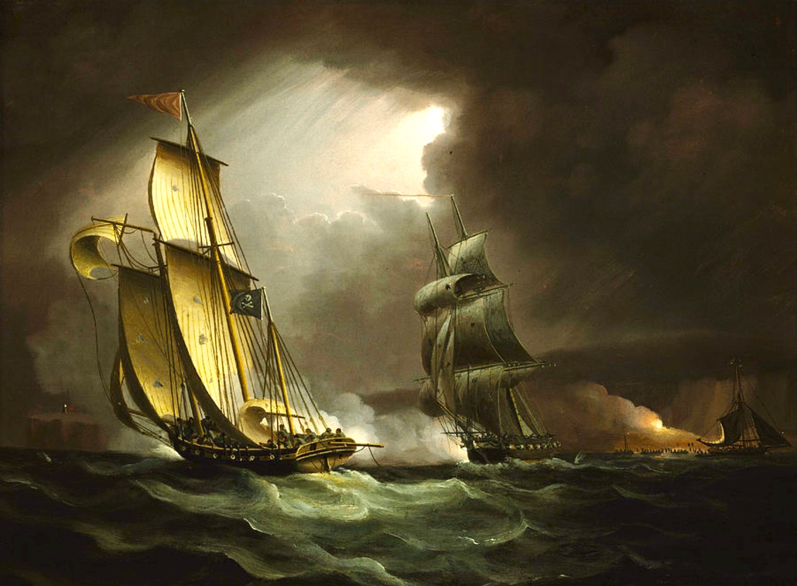 James Butterworth oil painting of a three masted 18 century privateer lugger being chased by a customs ship in dramatic seas.